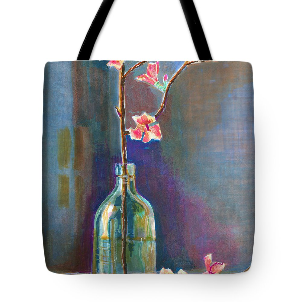 Flower Tote Bag featuring the painting Cherry Blossoms In A Bottle by Arline Wagner