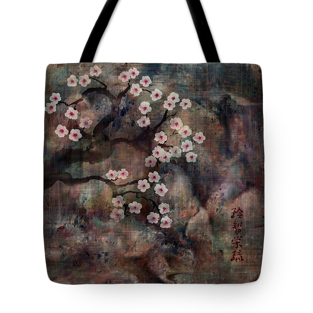 Landscape Tote Bag featuring the digital art Cherry Blossoms by William Russell Nowicki