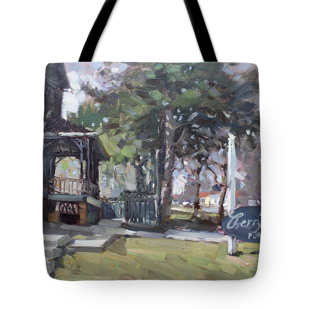 Cherry Hills Pub Tote Bag featuring the painting Cherry Hill Pub by Ylli Haruni