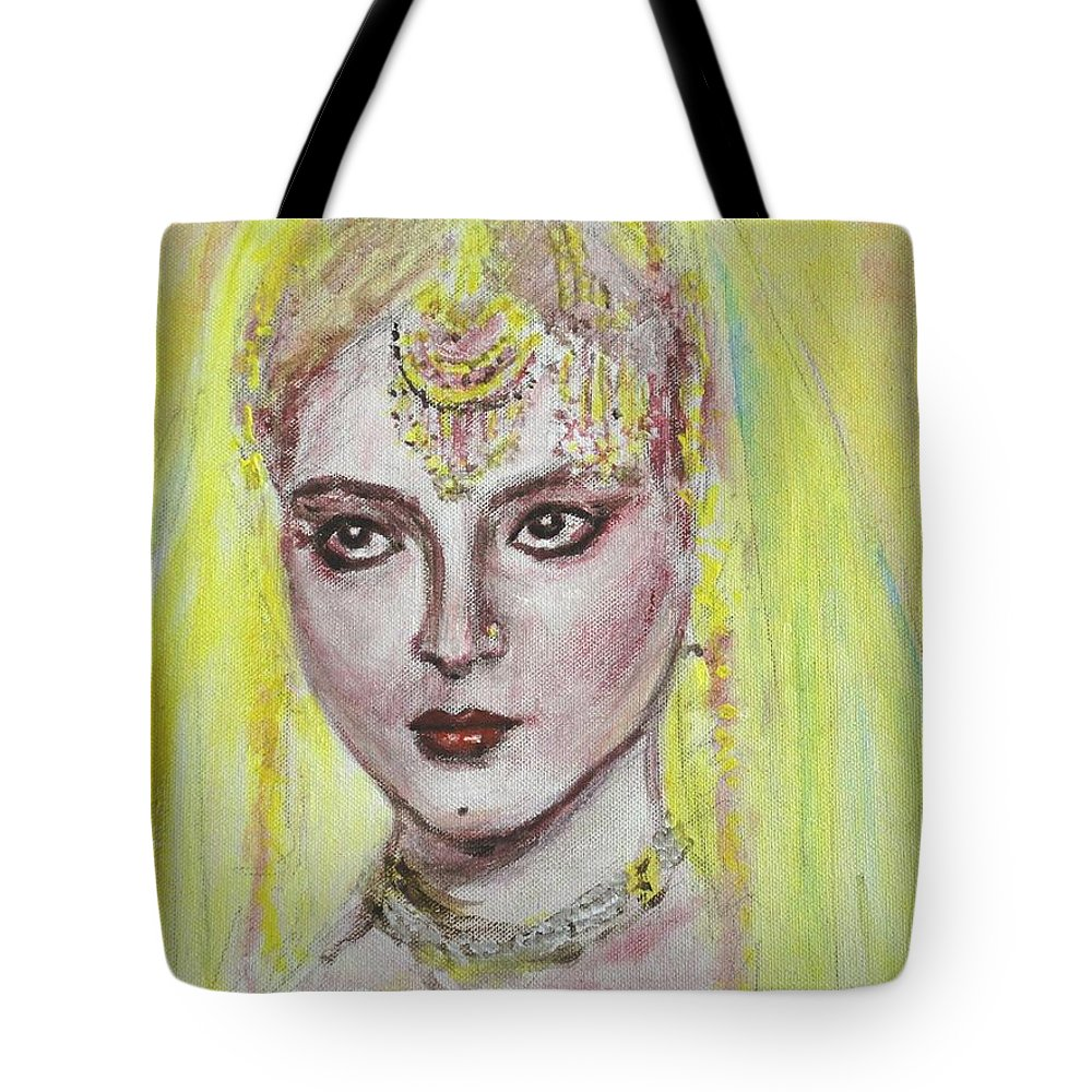 Bollywood Tote Bag featuring the painting Cherry Lips by Usha Shantharam