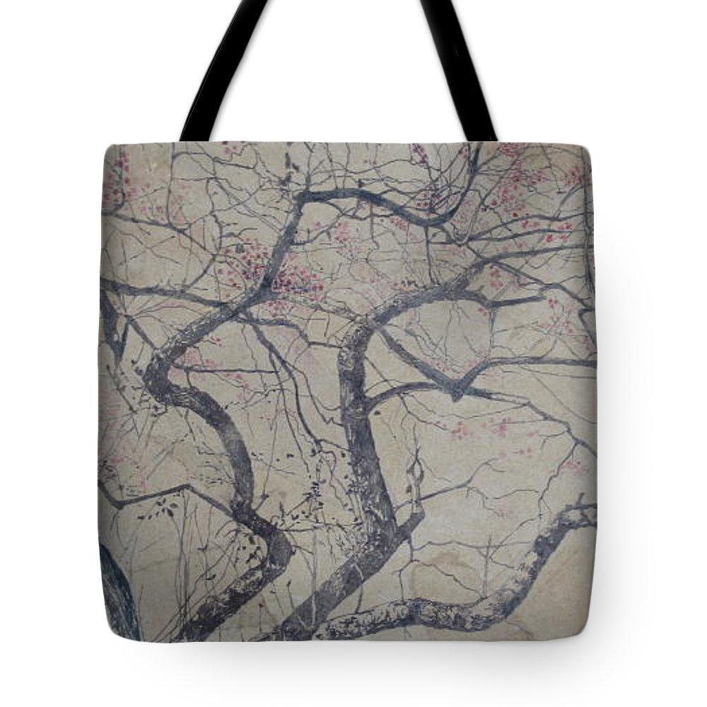 Crab Apple Tote Bag featuring the painting Prairie Fire by Leah Tomaino