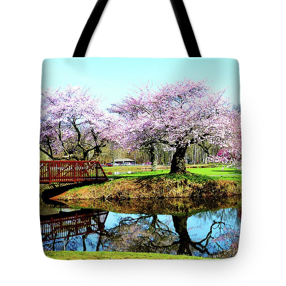 Cherry Tree Tote Bag featuring the photograph Cherry Trees In The Park by Susan Savad