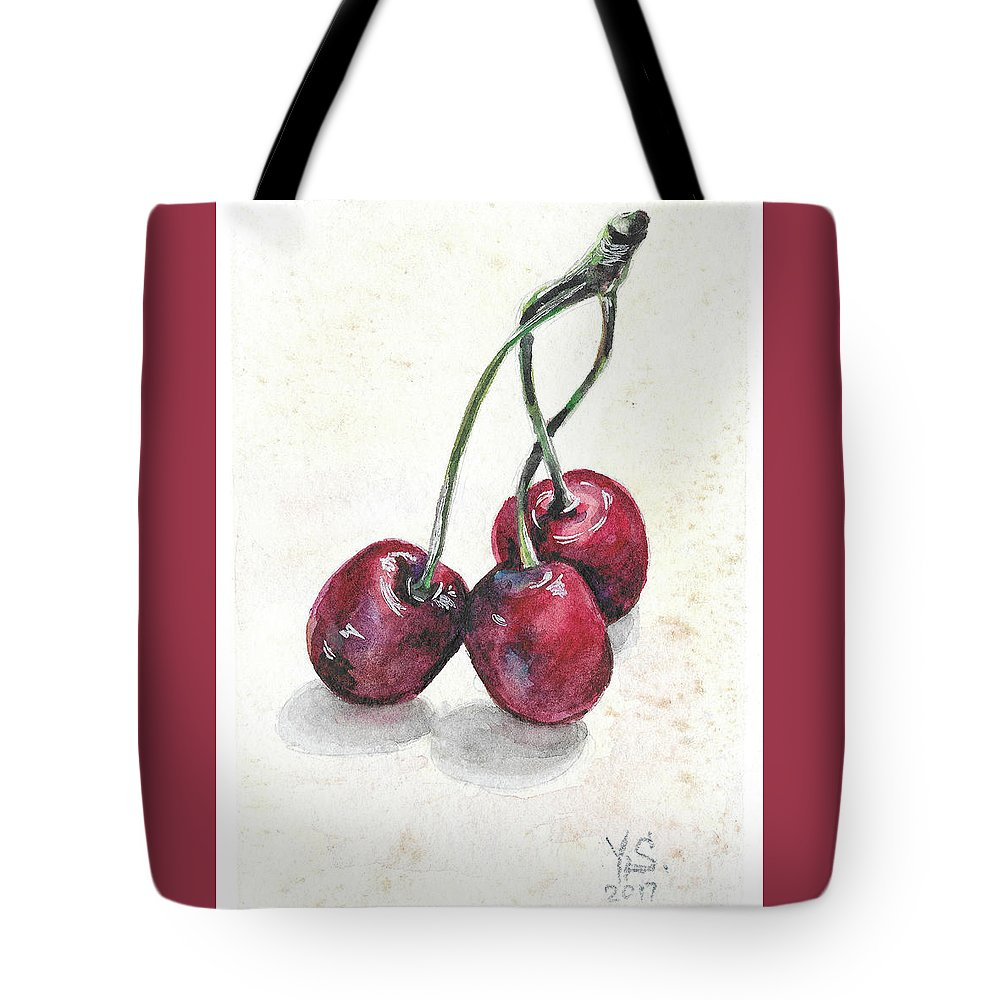 Cherry Tote Bag featuring the painting Cherry by Yana Sadykova