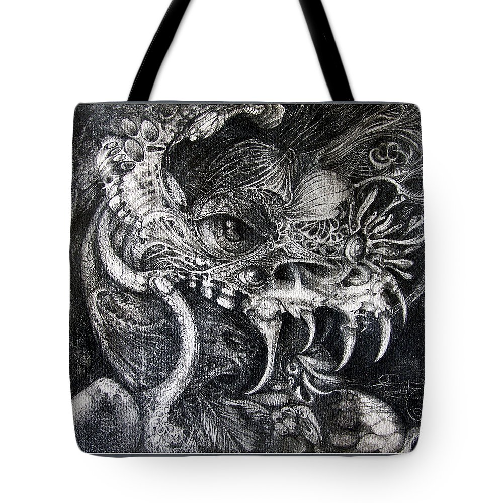 Tote Bag featuring the drawing Cherubim Of Beasties by Otto Rapp