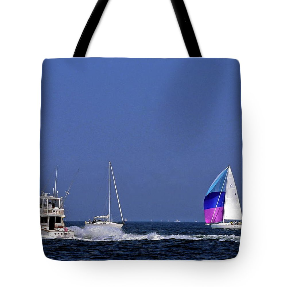 Motoryacht Speeding Past Sailboats Tote Bag featuring the photograph Chesapeake Bay Action by Sally Weigand