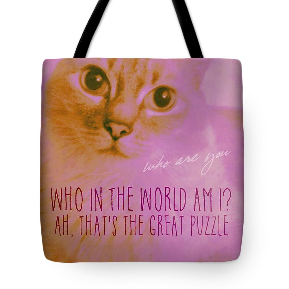 Cat Tote Bag featuring the photograph Cheshire Cat Quote by JAMART Photography