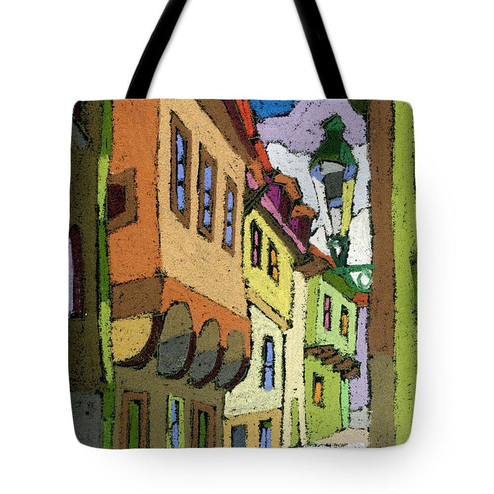 Pastel Tote Bag featuring the painting Chesky Krumlov Street Nove Mesto by Yuriy Shevchuk