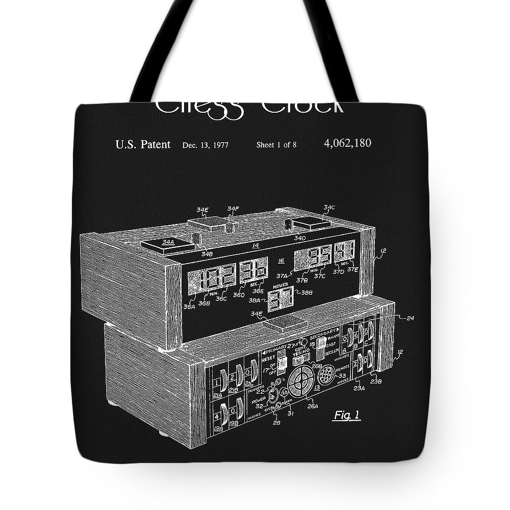 Chess Clock Patent Tote Bag featuring the drawing Chess Clock Patent by Dan Sproul