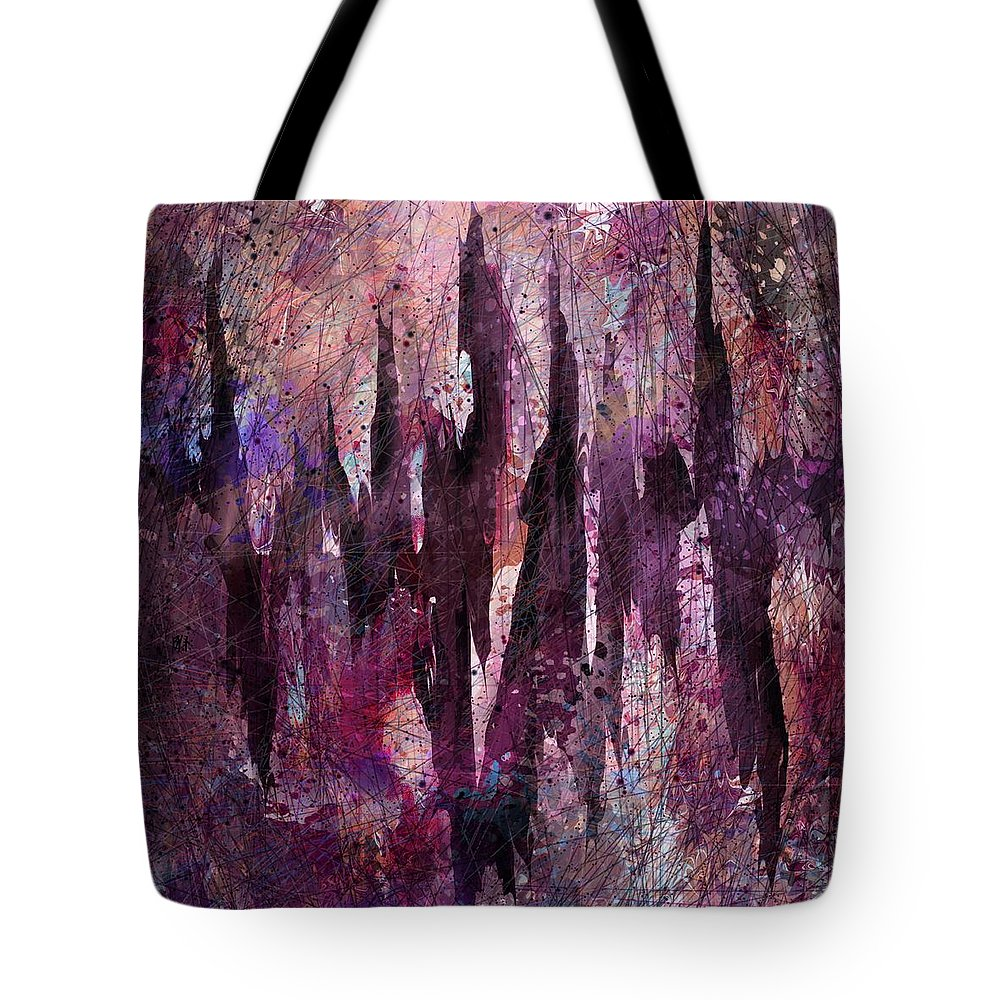 Abstract Tote Bag featuring the digital art Chest Pains by Rachel Christine Nowicki