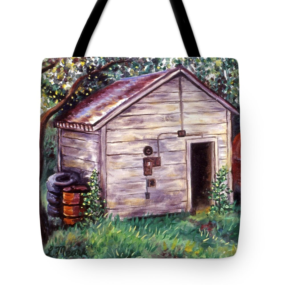Shed Tote Bag featuring the painting Chester's Treasures by Linda Mears