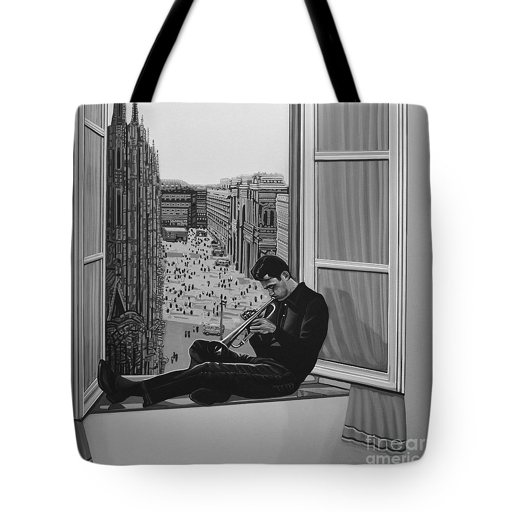 Chet Baker Tote Bag featuring the painting Chet Baker by Paul Meijering