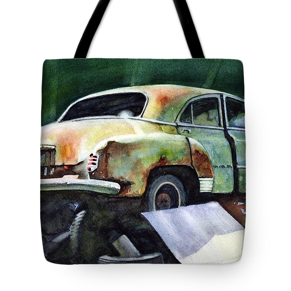 Chev Tote Bag featuring the painting Chev At Rest by Ron Morrison