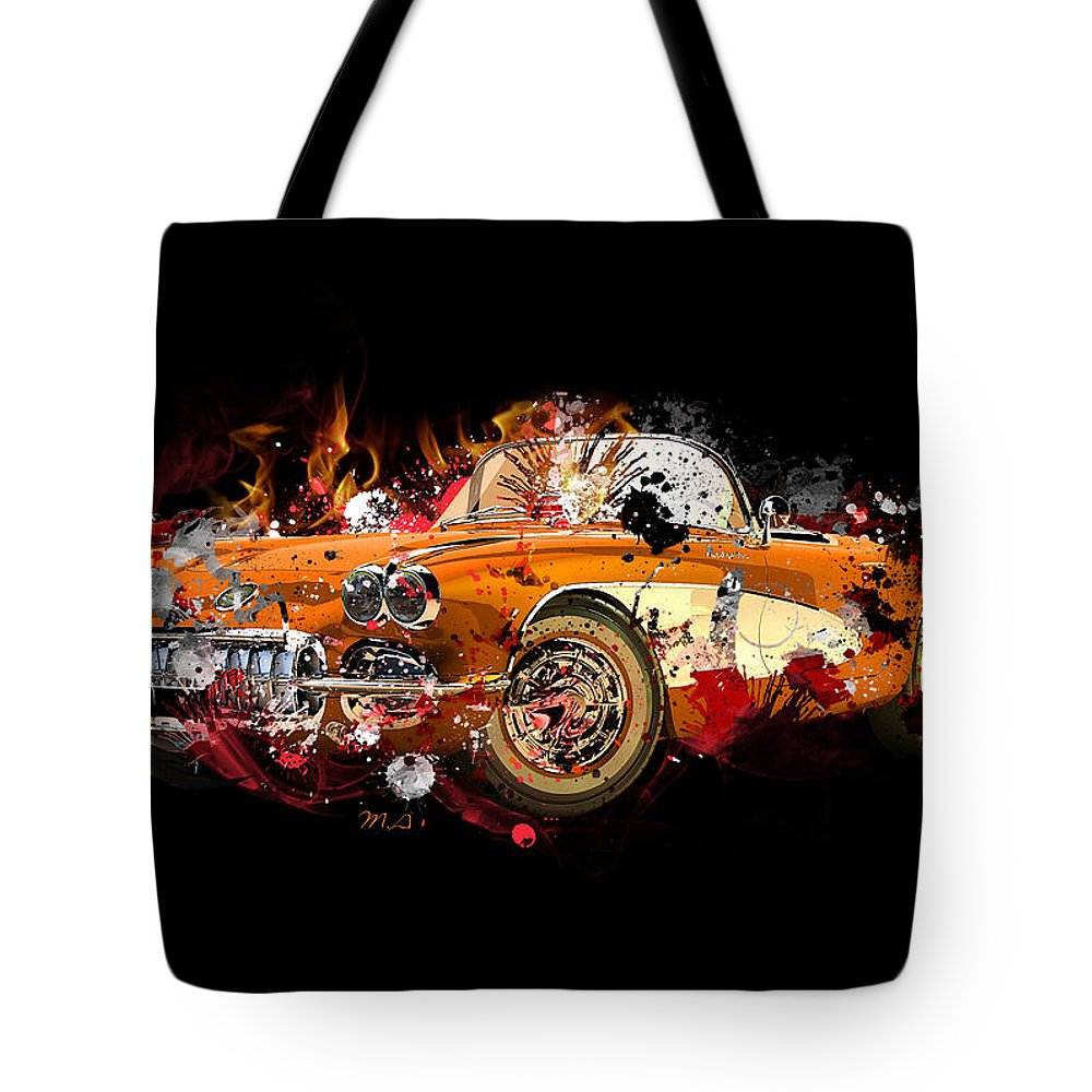 Lamborghini Tote Bag featuring the painting Chevrolet 2 by Mark Ashkenazi