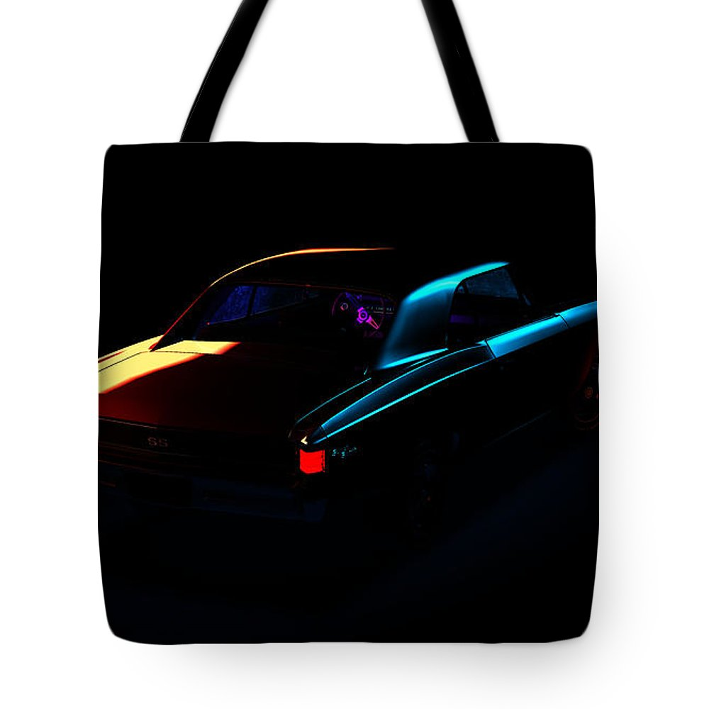 Car Tote Bag featuring the digital art Chevrolet Chevelle 001 by Alex Rota