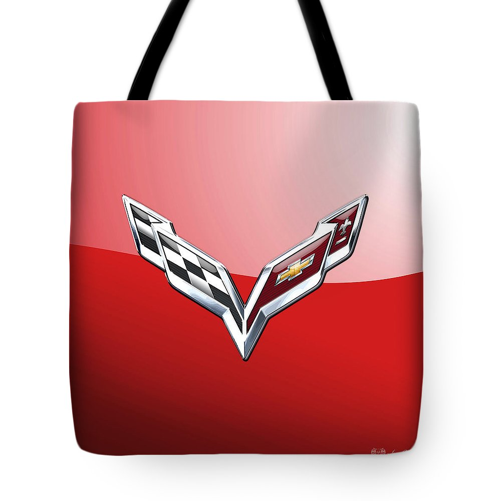 'wheels Of Fortune' Collection By Serge Averbukh Tote Bag featuring the photograph Chevrolet Corvette - 3d Badge On Red by Serge Averbukh
