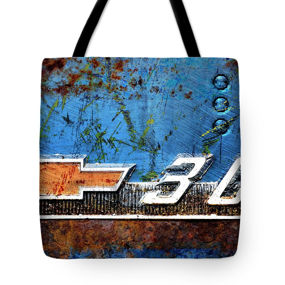 Car Tote Bag featuring the photograph Chevy 3.0 Photomontage by Carol Leigh
