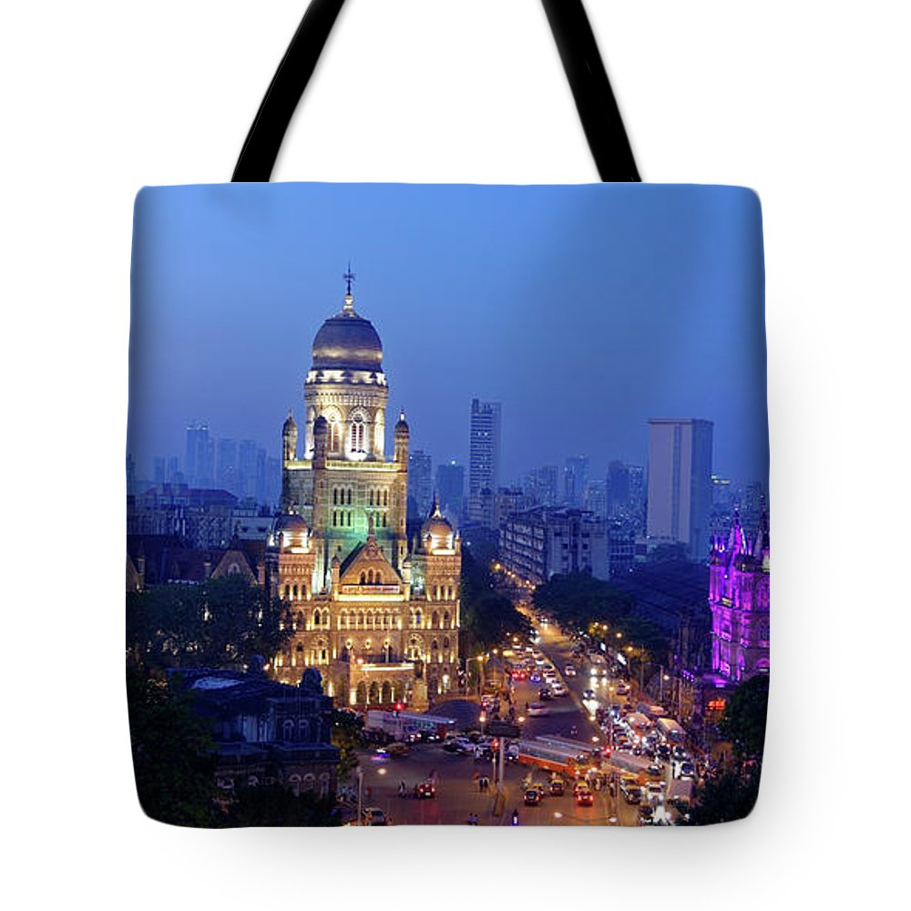Architectural Tote Bag featuring the photograph Chhatrapati Shivaji Terminus V.t. And Municipality Head Office In Mumbai. by Milind Ketkar