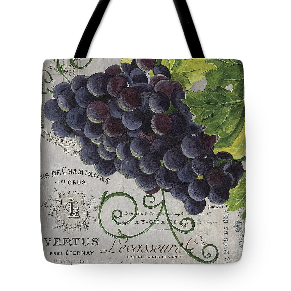 Grapes Tote Bag featuring the painting Vins de Champagne 2 by Debbie DeWitt