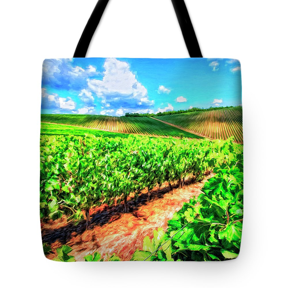 Chianti Tote Bag featuring the painting Chianti Vineyard In Tuscany by Dominic Piperata