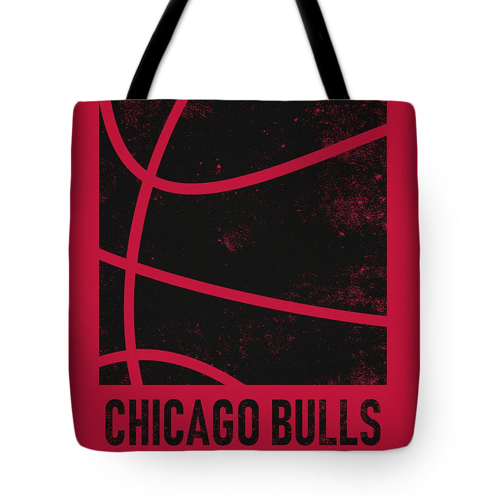 Bulls Tote Bag featuring the mixed media Chicago Bulls City Poster Art 2 by Joe Hamilton