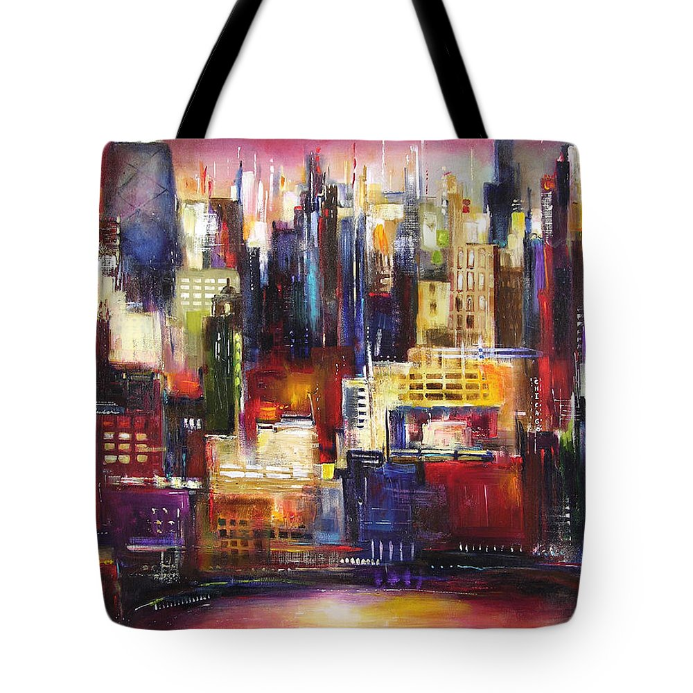 Chicago Art Tote Bag featuring the painting Chicago City View by Kathleen Patrick