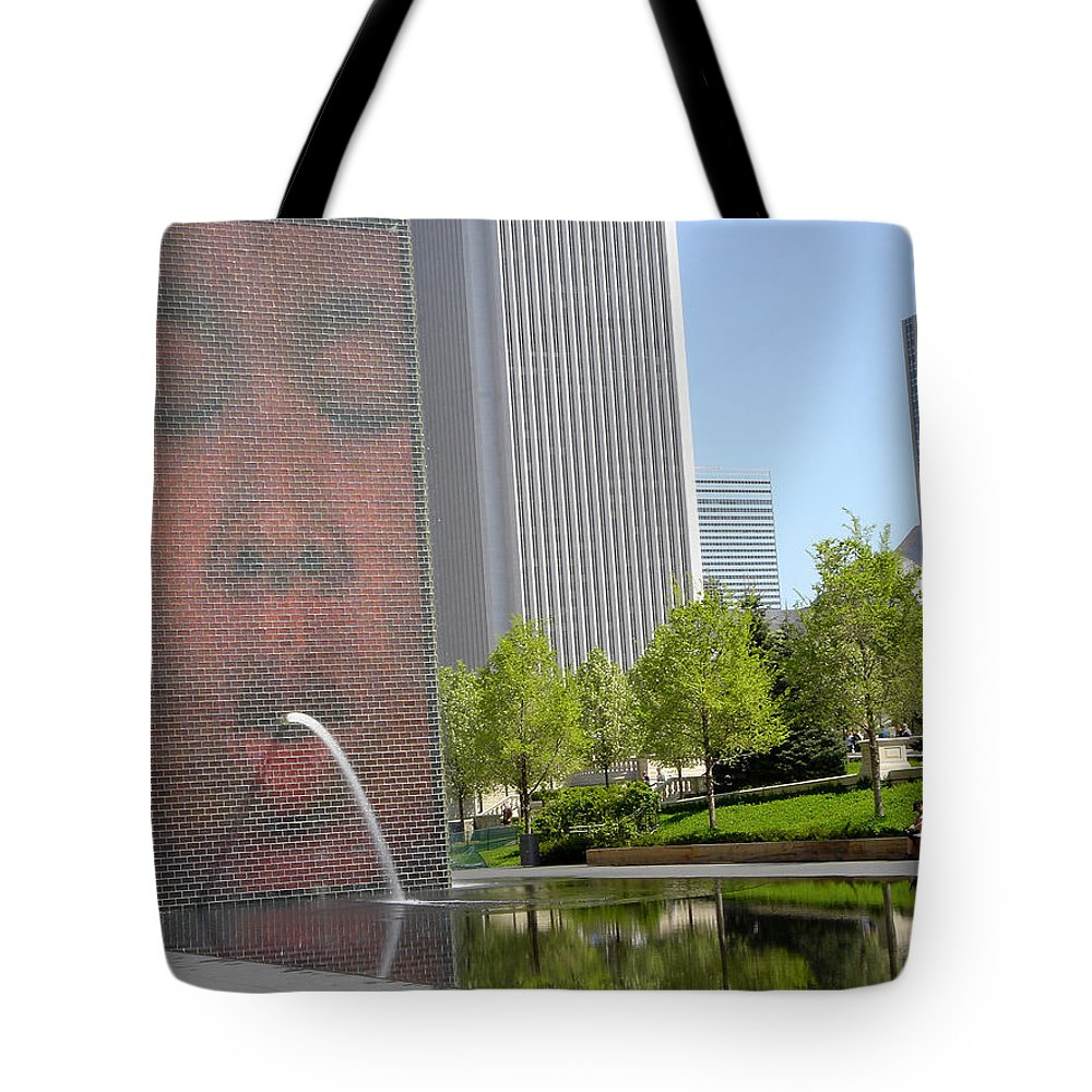 Chicago Tote Bag featuring the photograph Chicago Crown Fountain 8 by Jean Macaluso