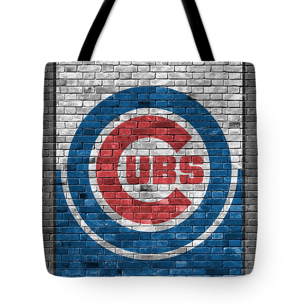 Cubs Tote Bag featuring the painting Chicago Cubs Brick Wall by Joe Hamilton