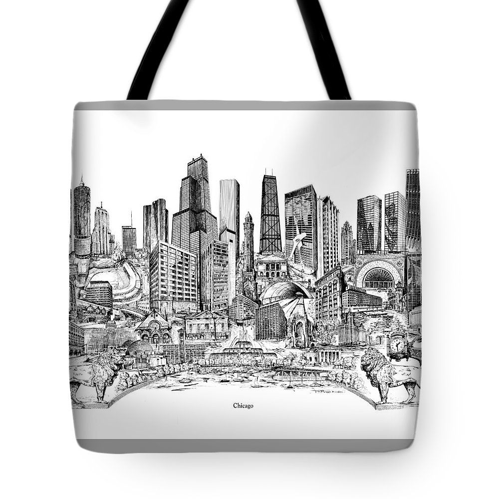 City Drawing Tote Bag featuring the drawing Chicago by Dennis Bivens