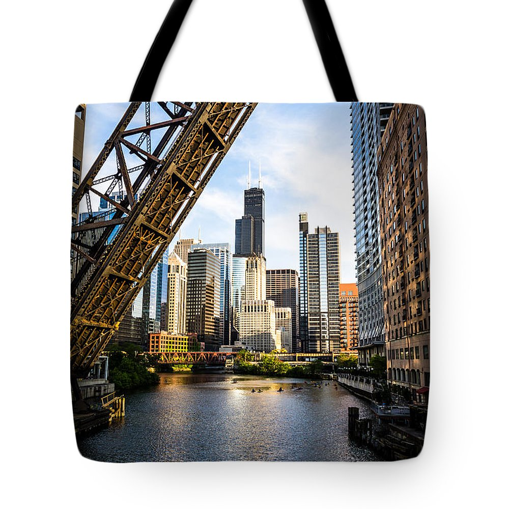 America Tote Bag featuring the photograph Chicago Downtown and Kinzie Street Railroad Bridge by Paul Velgos