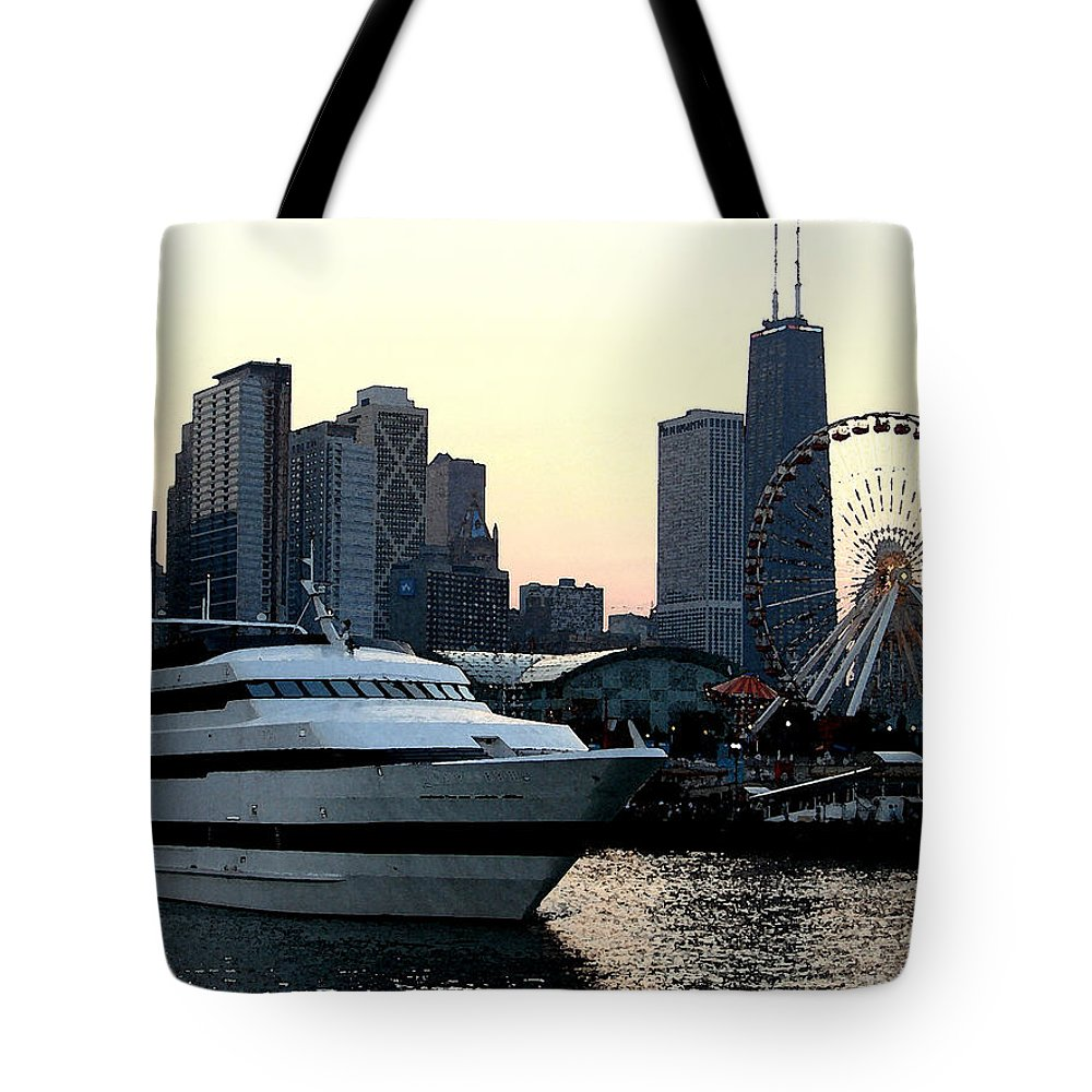 Photo Tote Bag featuring the photograph Chicago Navy Pier by Glory Fraulein Wolfe