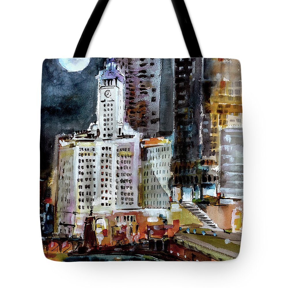Chicago Tote Bag featuring the painting Chicago Night Wrigley Building Art by Ginette Callaway