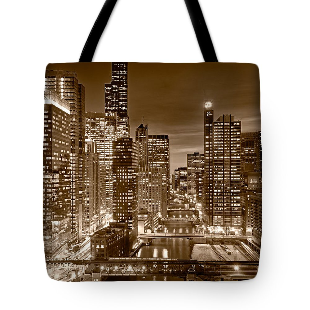 Boeing Tote Bag featuring the photograph Chicago River City View B and W by Steve gadomski