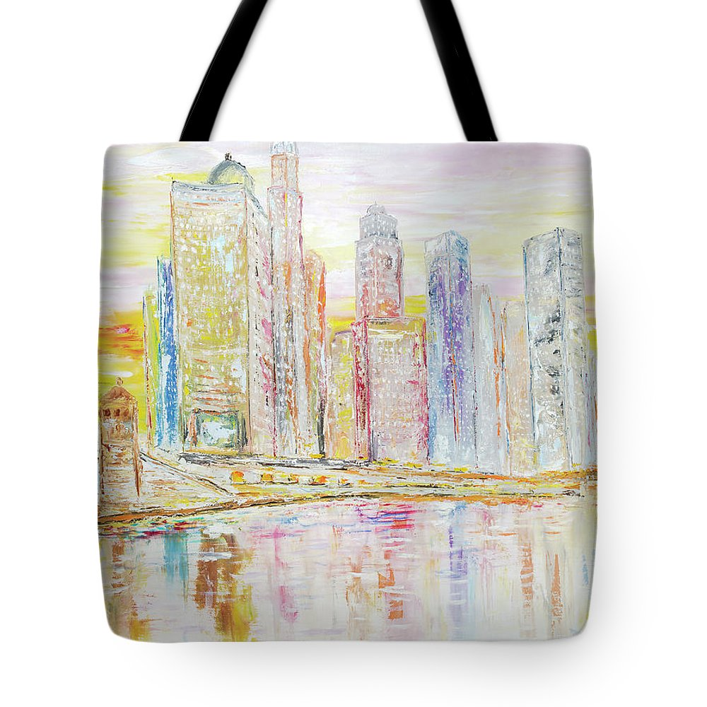 City Tote Bag featuring the painting Chicago River Skyline by Ken Wood