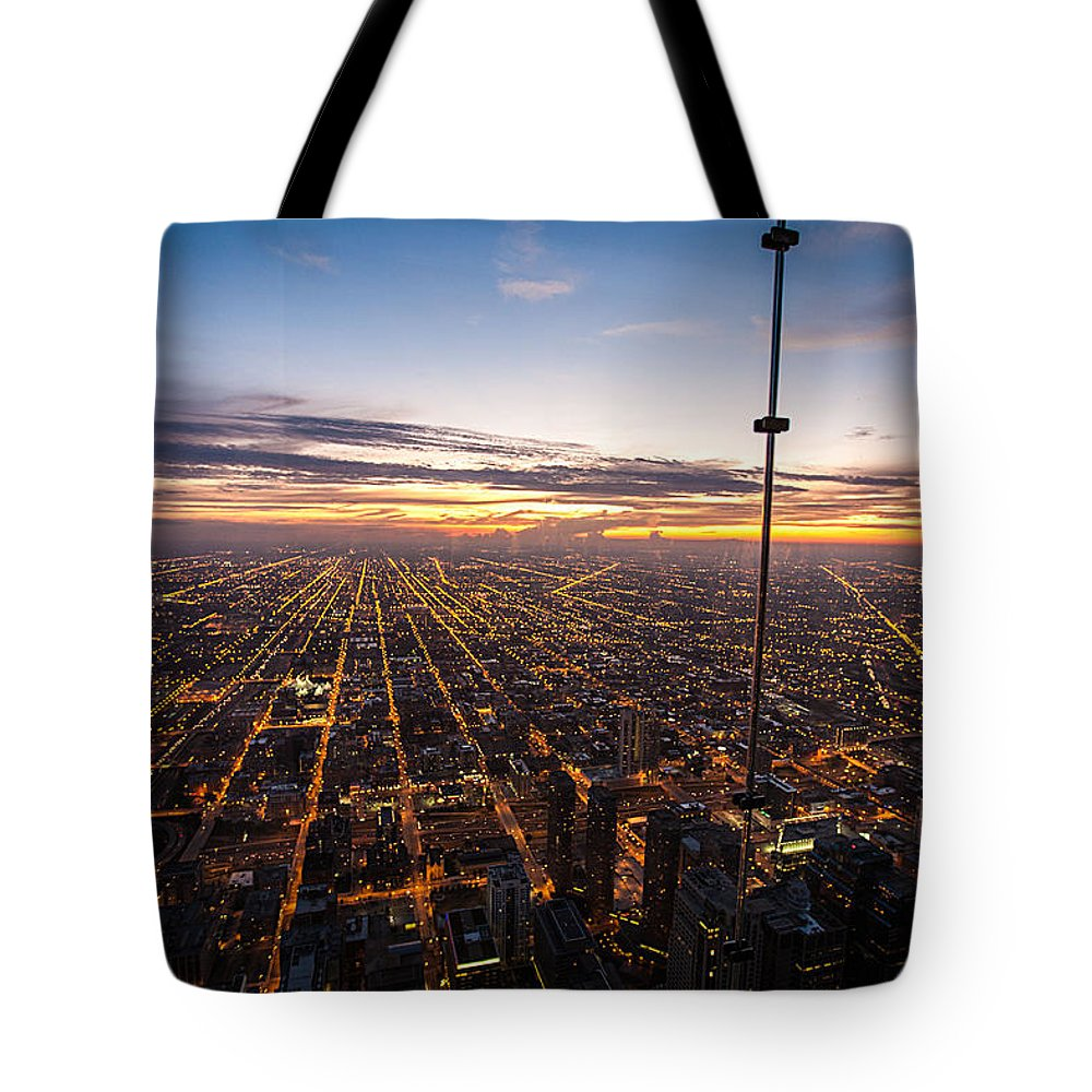Travel Photography Tote Bag featuring the photograph Chicago Skies by Alex Kotlik