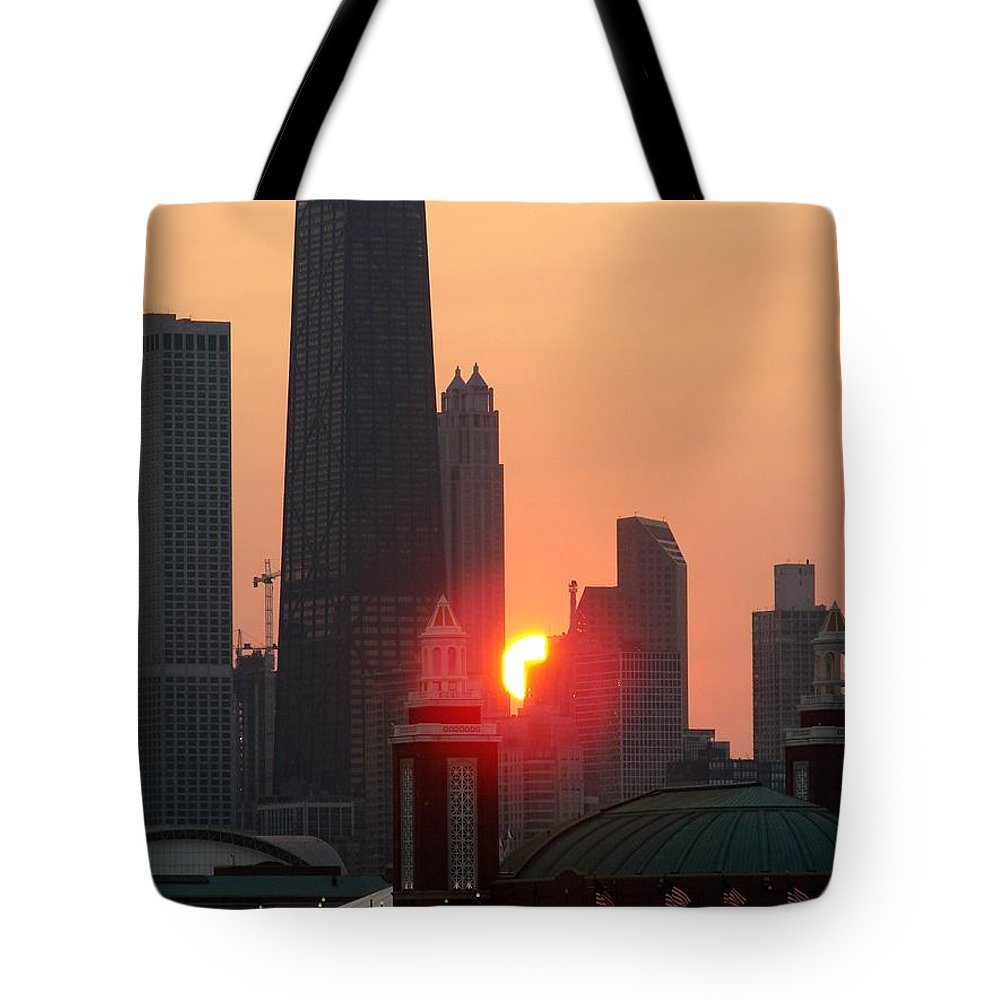 Photography Tote Bag featuring the photograph Chicago Sunset by Glory Fraulein Wolfe