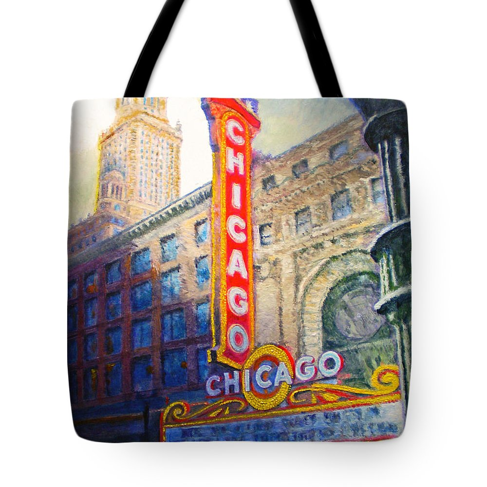Chicago Tote Bag featuring the painting Chicago Theater by Michael Durst