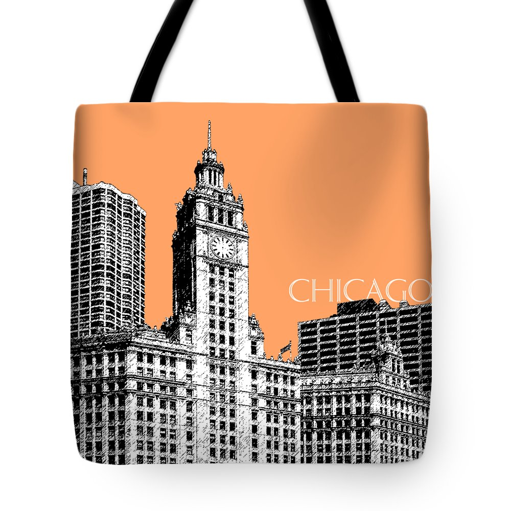 Architecture Tote Bag featuring the digital art Chicago Wrigley Building - Salmon by DB Artist