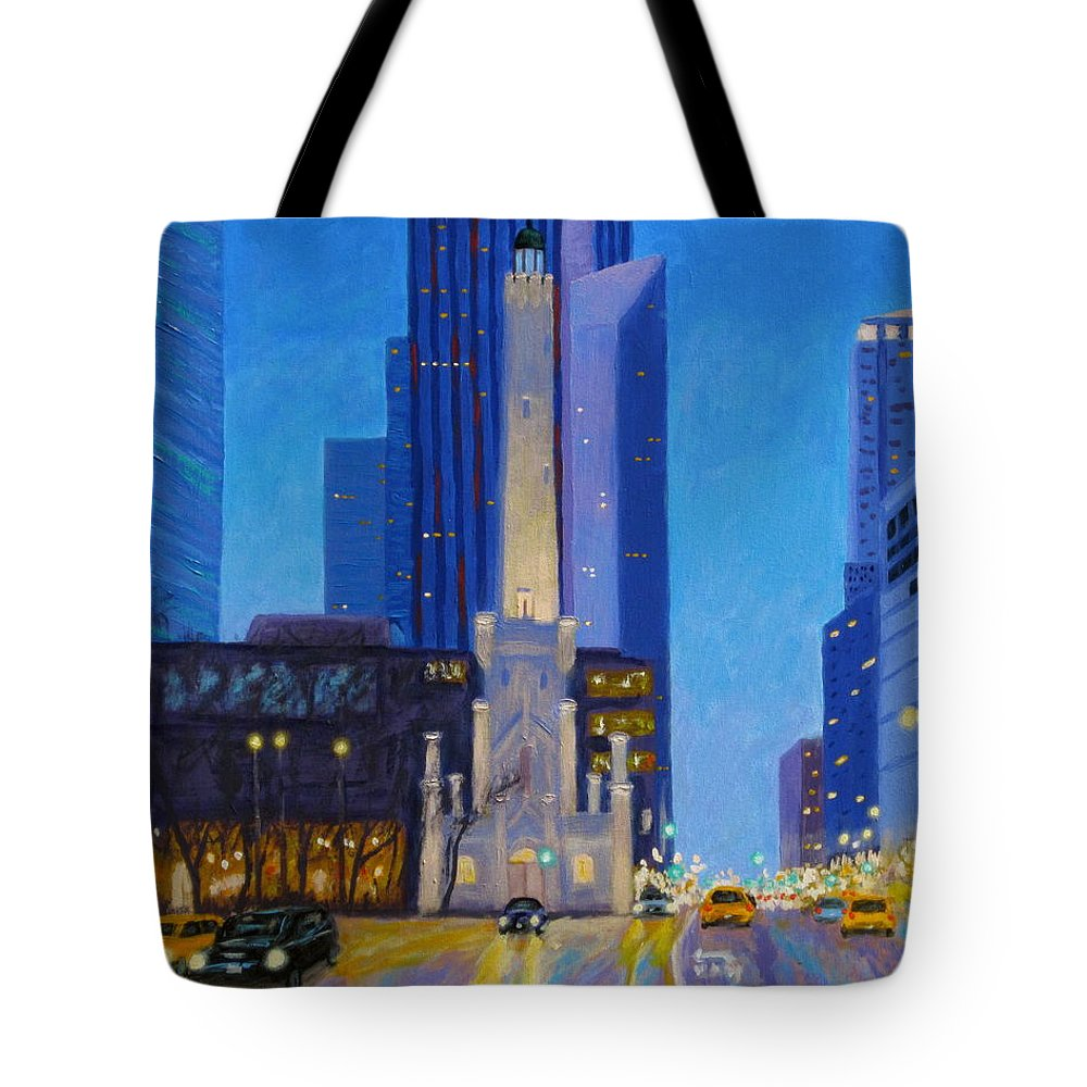 Chicago Art Tote Bag featuring the painting Chicago's Water Tower At Dusk by J Loren Reedy