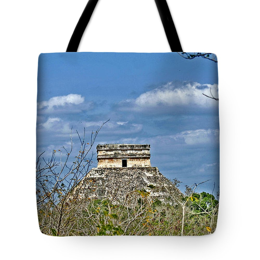 Chichen Itza Tote Bag featuring the photograph Chichen Itza Sunny Side by Chris Brannen