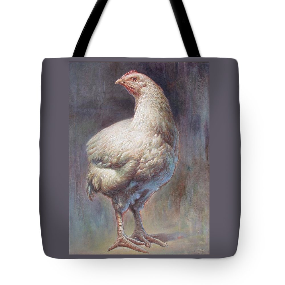Chick Tote Bag featuring the painting Chick by Hans Droog