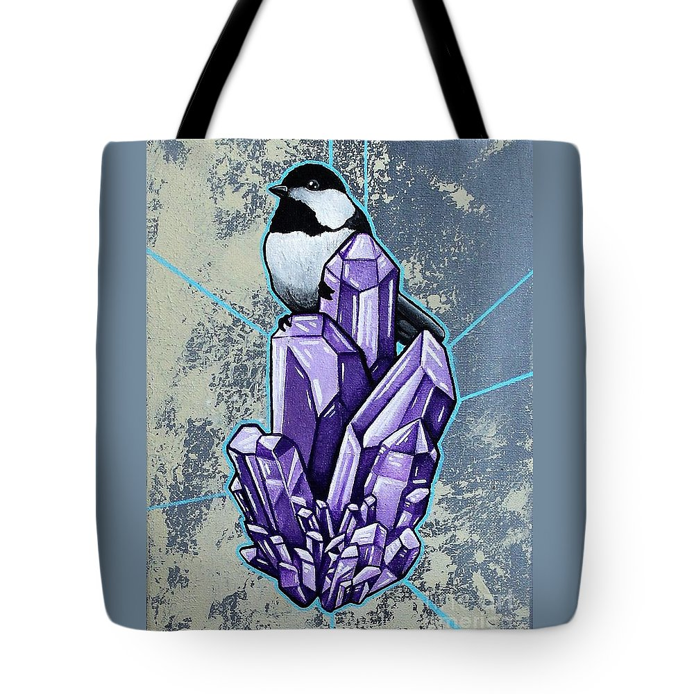 Chickadee Tote Bag featuring the painting Chickadee And Amethyst by Dan Gee