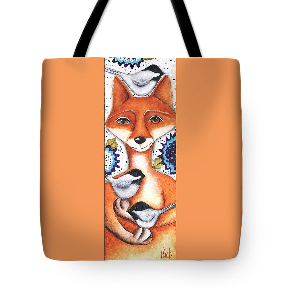 Fox Tote Bag featuring the painting Chickadee Fox by Deb Harvey