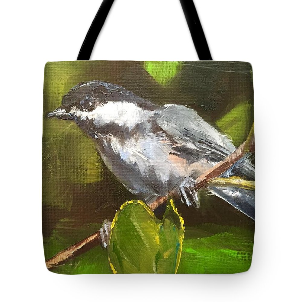 Bird Tote Bag featuring the painting Chickadee by Gary Bruton