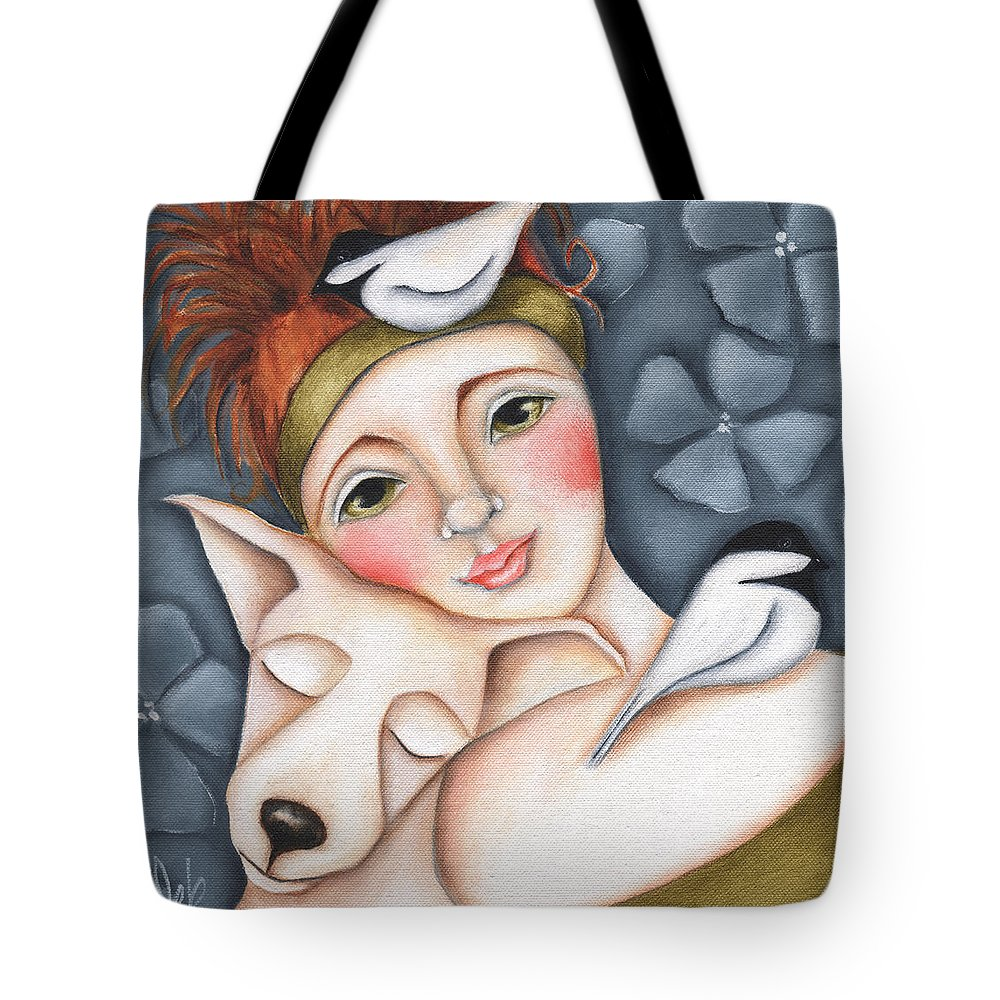 Woman Tote Bag featuring the painting Chickadee Love by Deb Harvey