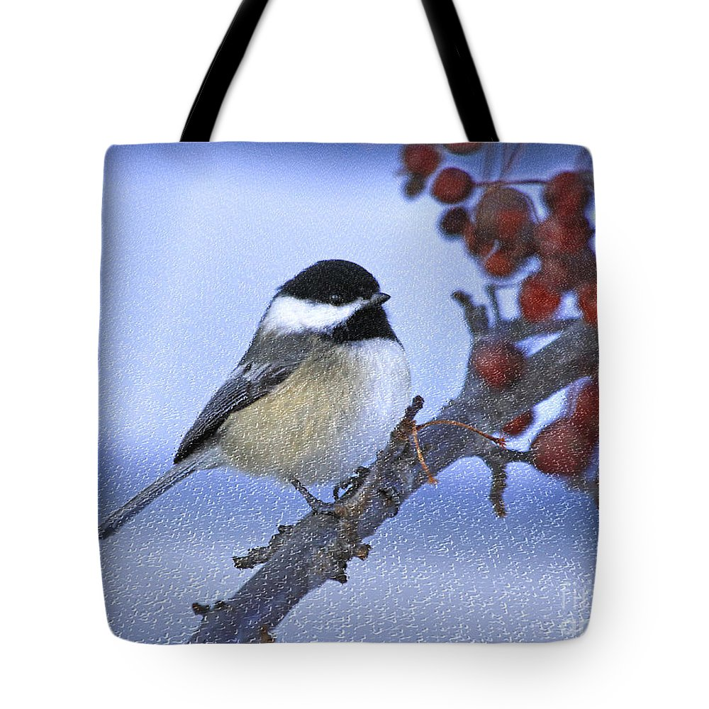 Bird Tote Bag featuring the photograph Chickadee With Craquelure by Deborah Benoit