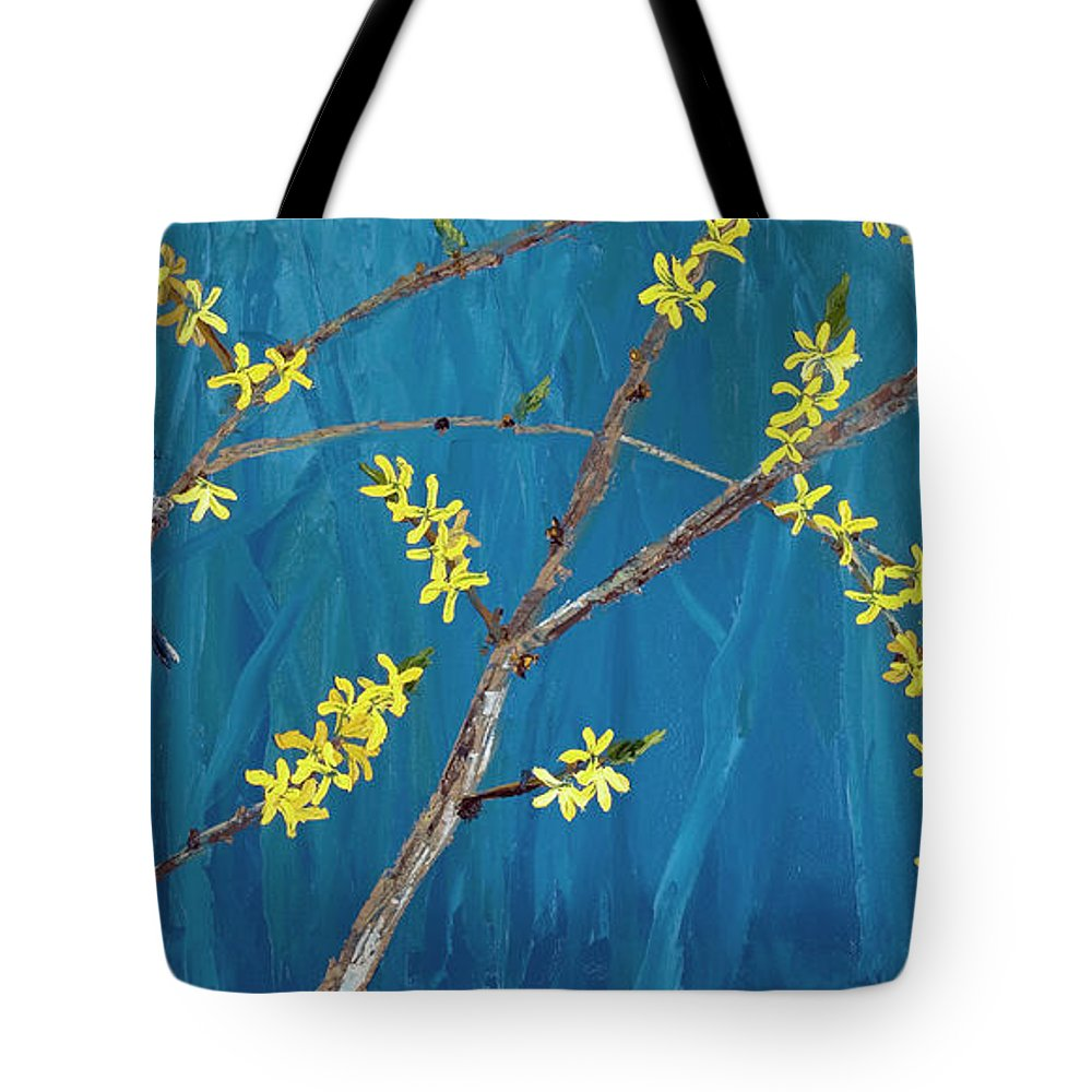 Chickadees Tote Bag featuring the painting Chickadees On Forsythia by Alison Vernon