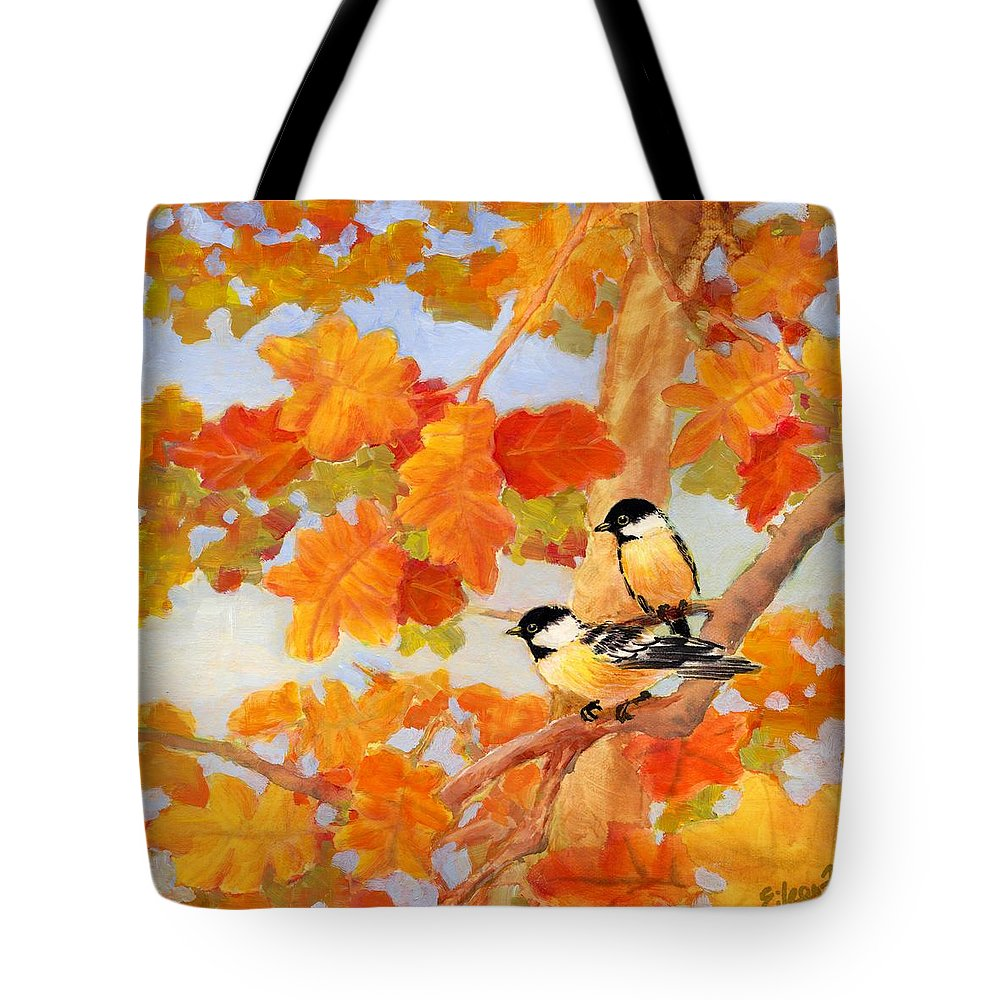 Chickadees Tote Bag featuring the painting Chickadees With Oak Leaves by Eileen Fong