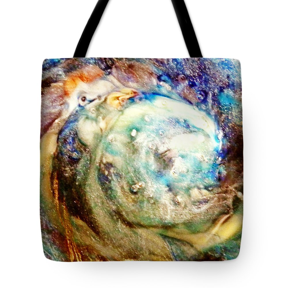 Abstract Tote Bag featuring the digital art Chicken And The Egg by Francesa Miller