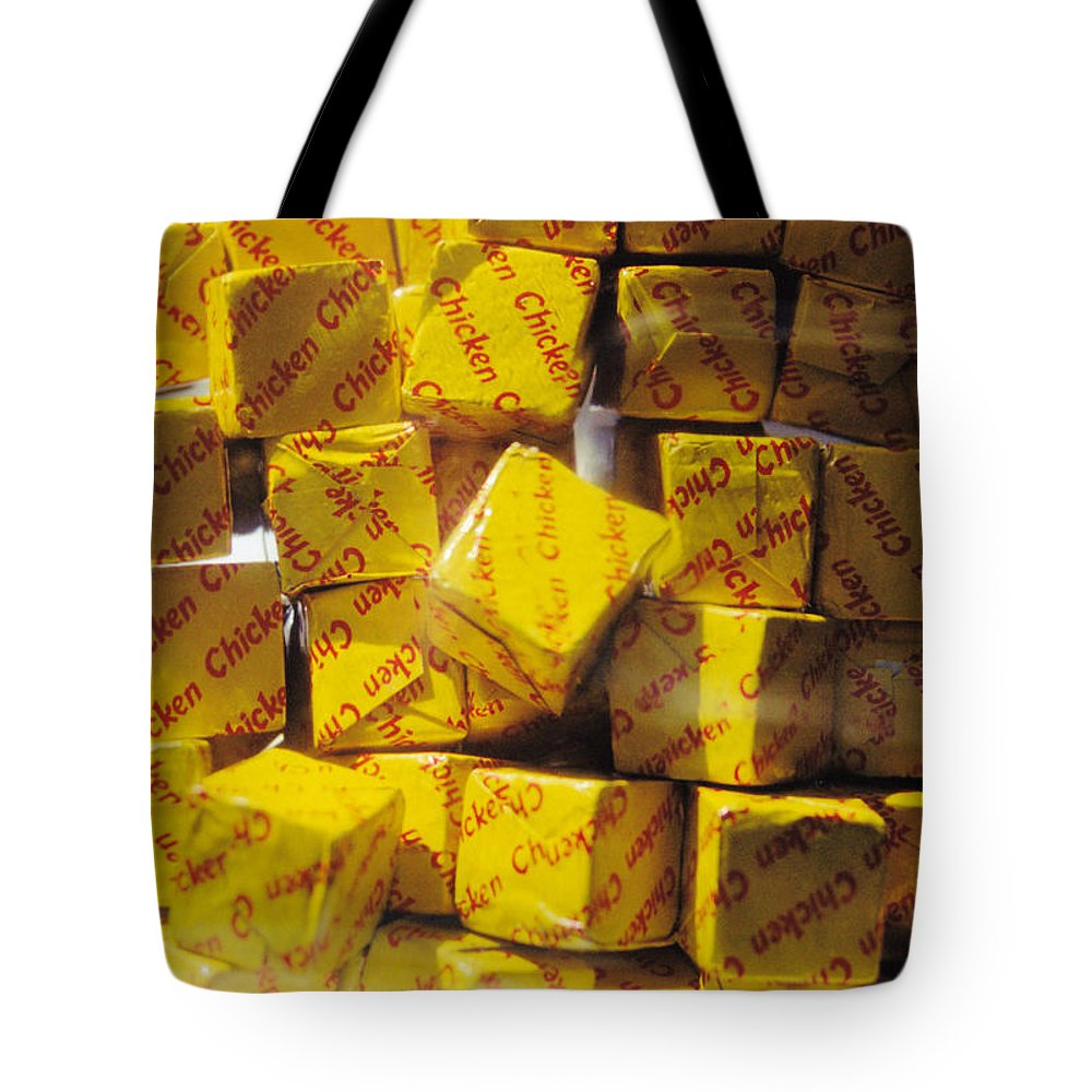 Still Life Tote Bag featuring the photograph Chicken Cubes by Jan Amiss Photography