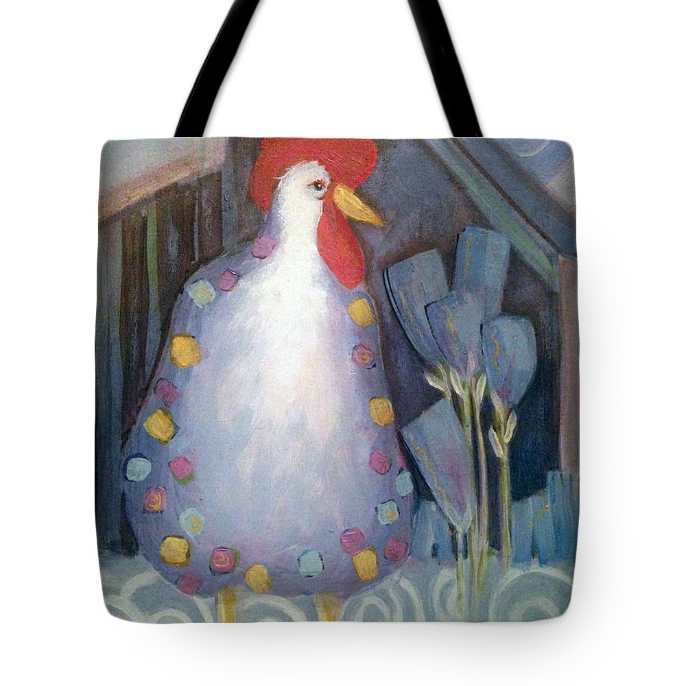 Chicken Tote Bag featuring the painting Chicken In My Garden by Shane Guinn